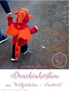 Faschingskostüm / Drachenkostüm für Kinder selbst genäht! Für Mädchen und Jungen! Ganz einfach aus Jäckchen-Schnitt und Freebook zusammengefügt