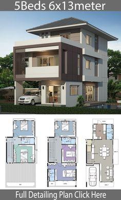 4 bedrooms home design plan 6x12m | 6x12 | rumah, dekorasi