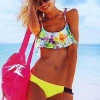 Flounce Crop Top - PINK - Victoria's Secret