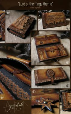"""Lord of the Rings"" theme big leather wallet. ~~~Not Available~~~ For orders please contact me at morgenland@gmail.com"