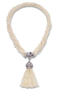 AN ART DECO SEED PEARL AND DIAMOND SAUTOIR, MOUNTED BY CARTIER *18 rows of seed pearls to the diamond-set clasp and detachable diamond and seed pearl tassel, circa 1920, 47.0 cm long