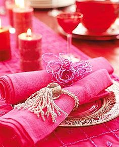 pink on the table with decorative napkin rings