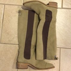 BCBGeneration Suede Leather Knee-High Boots In great condition. Gently worn. Two shades of brown. The darker strip of brown is made of stretchy material to go on easier. Suede is beautiful and soft. NO TRADES. I take offers, please be reasonable. BCBGeneration Shoes