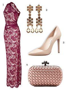 1. Emilio Pucci Lace Overlay One-Shouldered Gown, $2,927 (on sale); stylebop.com 2.Lanvin Crystal Drop Earrings, $690; mytheresa.com 3. Prada Pointed Toe Pumps, $650; bergdorfgoodman.com 4. Bottega Veneta Intreccio Clutch, $1,380; bottegaveneta.com   - MarieClaire.com