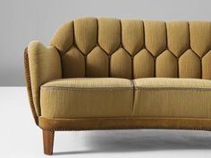 Danish Curved Sofa in Yellow and Brown Velours | From a unique collection of antique and modern sofas at https://www.1stdibs.com/furniture/seating/sofas/
