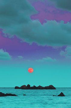 pinkys-lab:    purple sky, orange moon. crazy world.