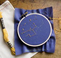 Zodiac Embroidery Kit - diy constellation embroidery kit $15