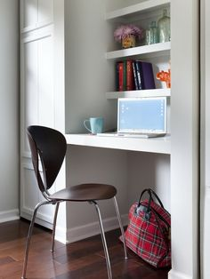 smart idea creating a desk in a nook with floating shelves by mona Office Nook, Home Office Space, Home Office Design, Home Office Furniture, Home Office Decor, Furniture Design, House Design, Home Decor, Office Designs