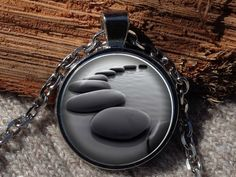 Stone pendant Smooth stones necklace River rock pendant by Aranji