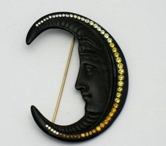 Diane Love for TRIFARI Very Rare Vintage Crescent Moon Brooch