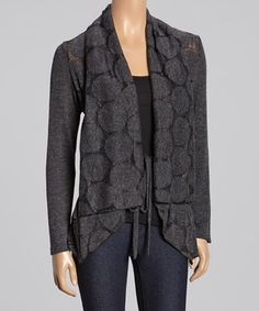 Look what I found on #zulily! Gray Dot Open Cardigan by High Secret #zulilyfinds