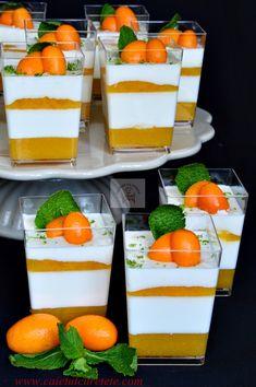 Panna cotta cu jeleu de fructe tropicale - CAIETUL CU RETETE Party Desserts, Dessert Recipes, Panna Cotta, Cake Hacks, Good Food, Yummy Food, Food Gallery, Halloween Snacks, I Foods