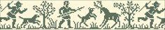 Deer hunting | narrow border for cross stitch or filet crochet | chart