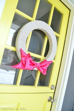 Pink Valentine Satin Bow Wreath Tutorial at Tatertots and Jello