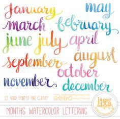 Meses del Año Letras en Acuarela cursiva PNG Clipart lettering