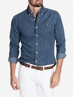 Slim Fit Denim Shirt - Polo Ralph Lauren - Dark Wash - Skjortor - Kläder - Man…