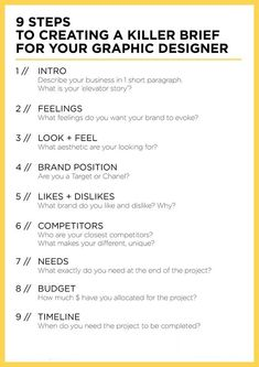9 steps to creating a killer brief for your graphic designer. Thinking about rebranding here are somethings to consider before you start the branding process. Brand, Branding, Brand strategy, Branding tips, brand blog posts #entrepreneur, small business, small business hacks, creative entrepreneur small business owner, solopreneur, mompreneur, creatives, online business Business tips, girl boss tips