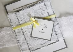 "5x7"" Grey and yellow lace wedding invitation suite by always, by amber"