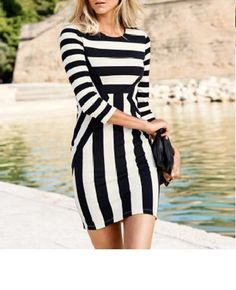 Our latest dress with black and white stripe and made of cotton fabric. Pair it with a nice shoes and you're ready to party! Free Shipping! 2-4 days processing time. 15-30 days delivery time  #casualdress #2013dresses