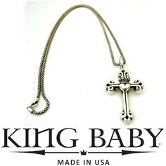 Grab this sterling silver King Baby cross and crowned heart necklace, perfect for any occasion. Drop by Flip today to see it for yourself. Featured items: King Baby necklace $498 - #nashville #hip2flip #consignment #menswear #designerconsignment #nashvillenow #kingbaby