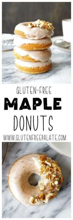Made from scratch and fresh out of the oven, these Gluten-Free Dairy-Free Maple Donuts will warm your heart and your belly. These are the best dairy free donuts and they are super simple to make. Best Gluten Free Desserts, Gluten Free Recipes For Breakfast, Gluten Free Dinner, Free Breakfast, Breakfast Ideas, Gluten Free Doughnuts, Gluten Free Muffins, Gluten Free Baking, Donut Recipes