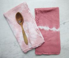 This 100% cotton, hand-dyed flour sack dishtowel was created using the ancient Japanese Shibori technique of folding and binding fabrics, but dyed with non-toxic fiber reactive dyes for excellent color fastness and durability. Flour sack towels have been used in American homes for centuries, they are super soft, absorbent, and lint free. One of a kind and ready to ship!  PLEASE NOTE: In the first photo, the towel on the left is Dusty Rose and the right is Dark Terracotta. This listing is…