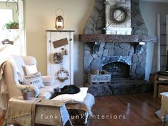 Funky Junk Interiors: Livingroom whites with new junk storage