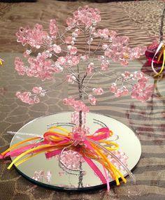 Rosa Enid Cruz Roque: Wire Tree 045 - Pink Flower Tree (Big Flower)