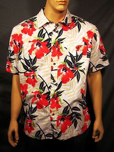 Croft Barrow Island Collection Tropical Casual Coral Hibiscus Shirt XL  On Sale !!  $12