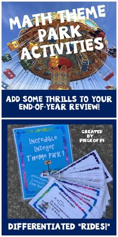 """These math theme parks are a great way to review fractions, integers, or polynomials! Try out Fabulous FractionLand, Incredible Integer Theme Park, or the Polynomial Palooza Theme Park! Differentiated """"rides"""" will give students of all levels the practice they need!"""