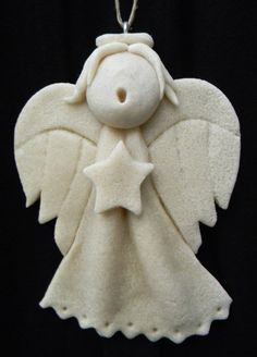 Choir Child Singing Angel Salt Dough Ornament - Natural Finish Salt Dough