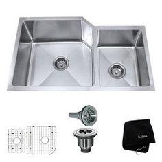 Kraus�Handmade 16-Gauge Double-Basin Undermount Stainless Steel Kitchen Sink
