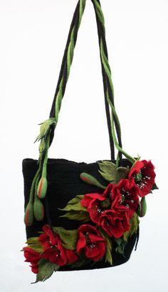 Summer outdoors Handmade Wool bag felted flower art