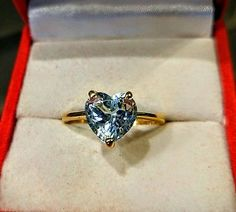 Genuine Aquamarine and 14k Yellow Gold Heart Shaped Ring size 5.5