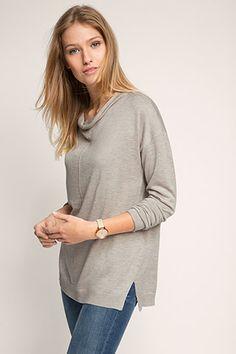 Esprit - Finstickad tröja med elegant kaschmirkant i Esprits Online-Shop