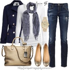 I love beige and navy together and then the little gold accents. Need jeans w/o holes--showing my age! :)