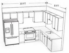 10 x 8 kitchen layout - Google Search  Similar layout with island and pantry beside fridge