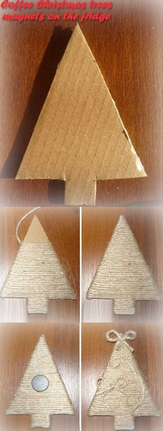 Step by step homemade Christmas tree decoration from cardboard and string, great for a kids Christmas craft or an easy way to make thrifty holiday season decorations Handmade Christmas Decorations, Christmas Centerpieces, Diy Christmas Ornaments, Homemade Christmas, Rustic Christmas, Christmas Projects, Winter Christmas, Christmas Holidays, Christmas Trees
