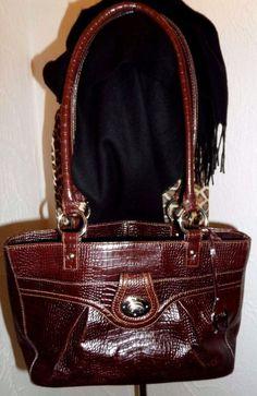 Etienne Aigner 100% embossed burgundy leather Croc handbag purse da58b9fb58a71