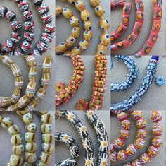 Gorgeous new stock of Krobo beads from Ghana, Africa. Check'em out.  #African #bead #beads #Ghana #glass #Krobo #handmade #painted #vintage #jewelry #making
