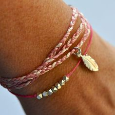 Feather friendship bracelet braided by Vivien Frank Designs