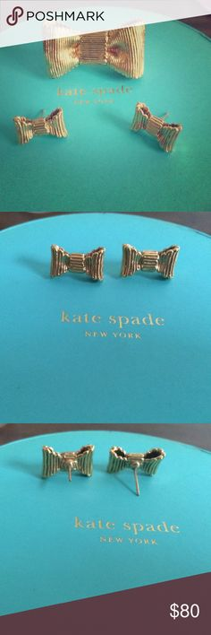 Kate Spade gold plated bow ring & earrings Gold plated size 6 ring with matching earrings. Purchased them separately, but will sell as a bundle. Worn a few times. Good condition with little wear and tear. Comes with 2 dust bags and 1 large rounded box. (Seen in pic) kate spade Jewelry Rings