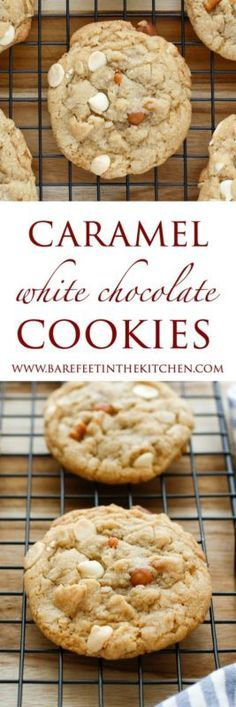 Perfectly thick and chewy cookies filled with white chocolate chips and bits of caramel proved irresistible to everyone who tried them! (If you don't happen to be a fan of white chocolate, just swap in...