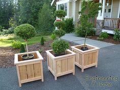 Pretty Front Porch: DIY Large Cedar Planter Boxes - Planters - Ideas of Planters - How To Build Garden Planter Boxes Project Cedar Planter Box, Garden Planter Boxes, Outdoor Planter Boxes, Large Wood Planter Boxes, Planter Box Plans, Garden Bed, Diy Wooden Planters, Front Porch Makeover, Garden Types