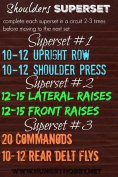 Shoulders Superset Workout Want tank top sexy toned arms? Shoulder supersets are mini circuits to work every angle of your shoulders and get you strong and toned! Workout Routines For Beginners, At Home Workouts, Workout Ideas, Arm Workouts, Training Workouts, Workout Plans, Weight Training, Weight Lifting, Super Set Workouts