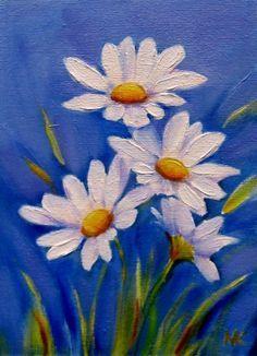 """Daisy Art Blessings~""""HomeSchool Blessings On The Farm""""~~Spring Delight5x7 oil, painting by artist Meltem Kilic"""