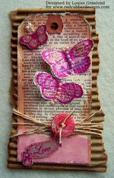 Butterfly Tag ~*~ Victorian Hearts rubber stamp set ~*~ from Red Rubber Designs www.RedRubberDesigns.com