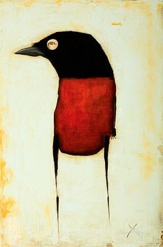 """Michele Mikesell, """"Huginn"""" 2010, oil on birch. 20 x 30 inches"""