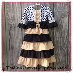 Gold black RUFFLE DRESS with sash and lace accents Thelaceprincess@yahoo.com