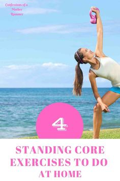 4 Standing core exercises to do at home. Do anywhere exercises with minimal equipment. Great for runners and anyone. Home workouts Easy Ab Workout, Workout Songs, Abs Workout Routines, Ab Workout At Home, Abs Workout For Women, Easy Workouts, At Home Workouts, Abdominal Exercises, Core Exercises